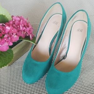 H&M Teal Suede Pump